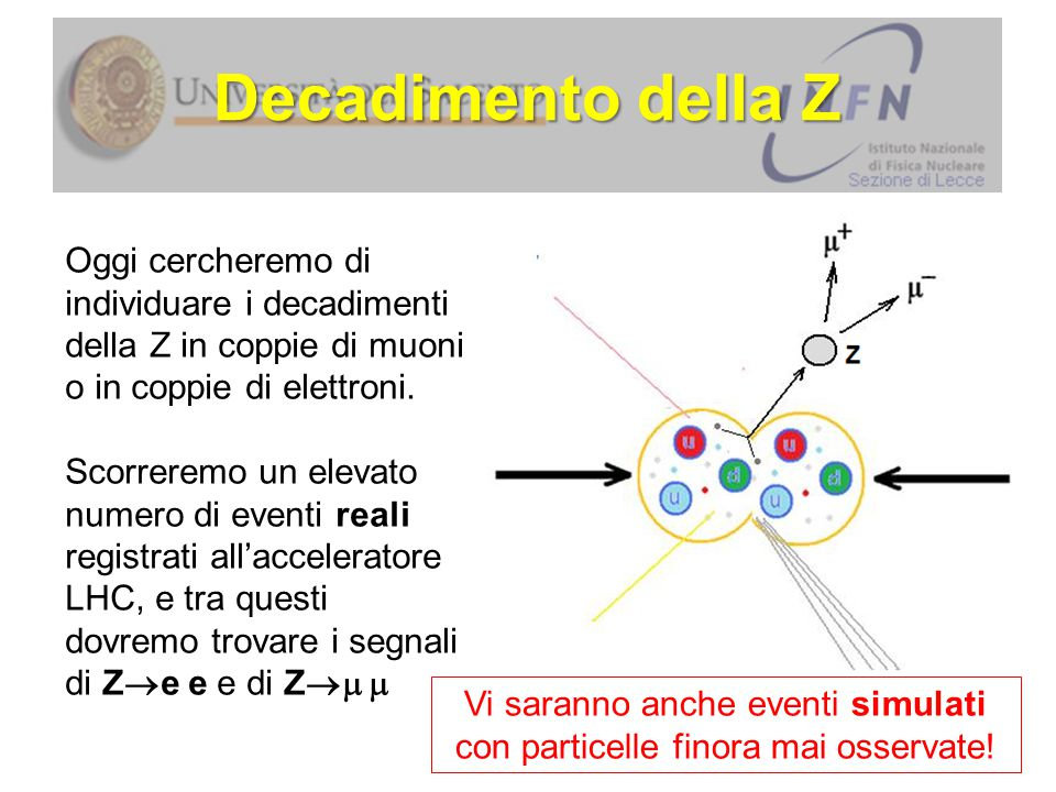 Vi saranno anche eventi simulati con particelle finora mai osservate!