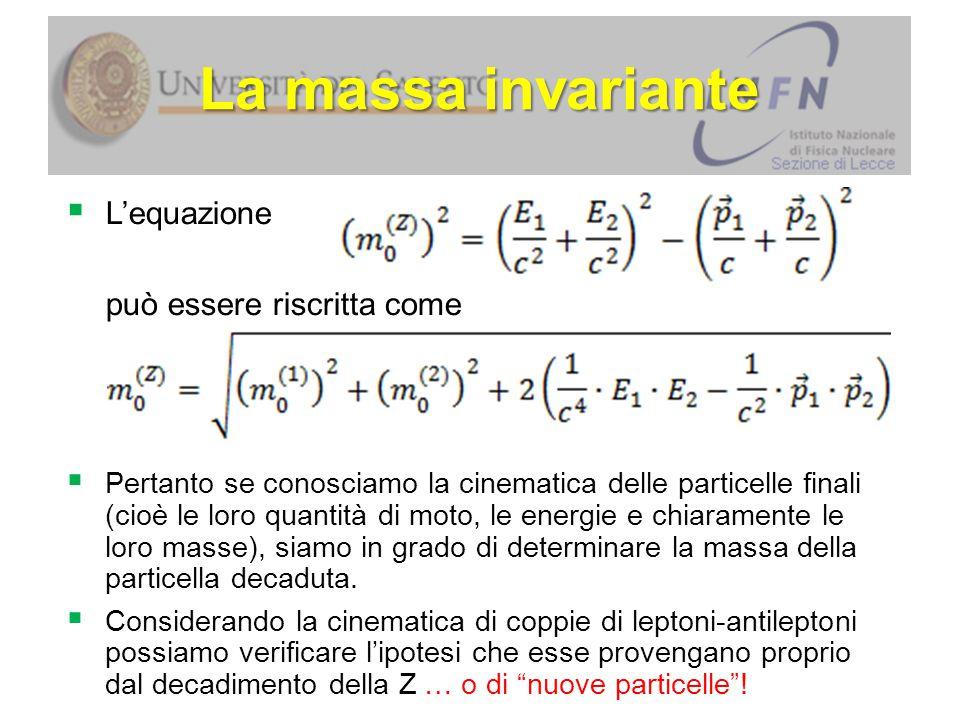 La massa invariante L'equazione può essere riscritta come