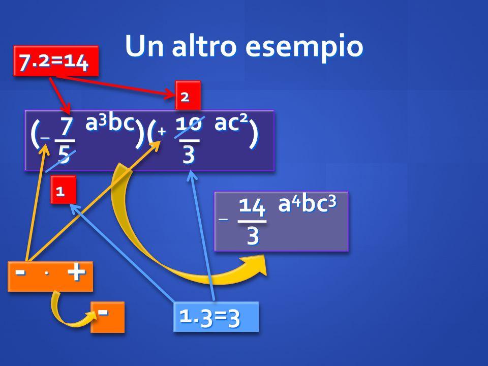 (_ 7 a3bc)(+ 10 ac2) - . + - Un altro esempio 5 3 _ 14 a4bc3 3 1.3=3