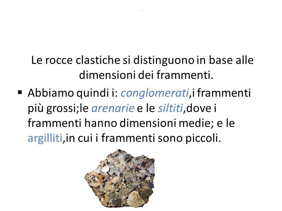 . Le rocce clastiche si distinguono in base alle dimensioni dei frammenti.