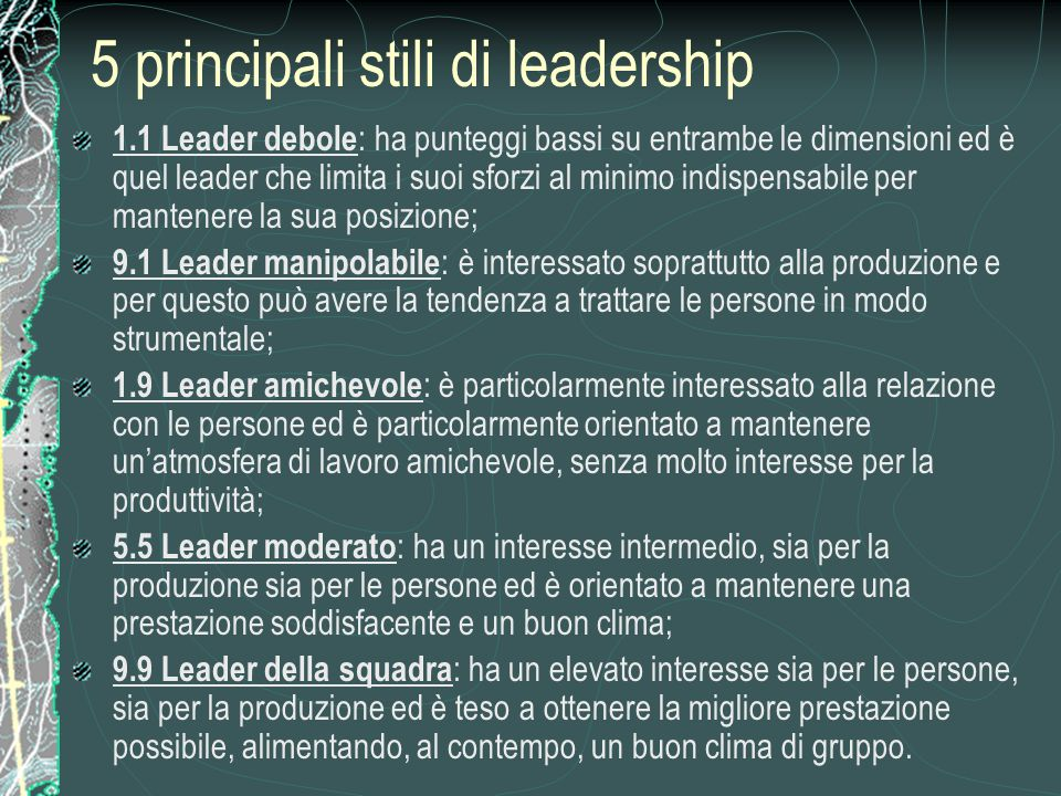 5 principali stili di leadership