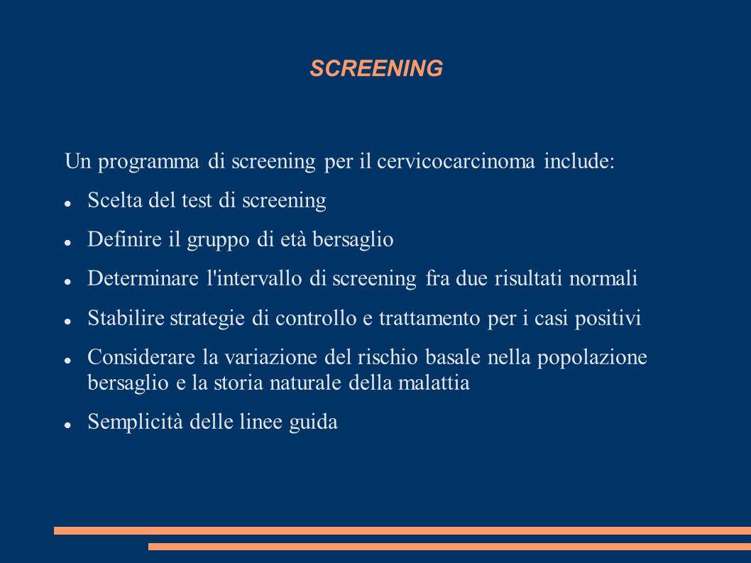 SCREENING Un programma di screening per il cervicocarcinoma include: Scelta del test di screening.