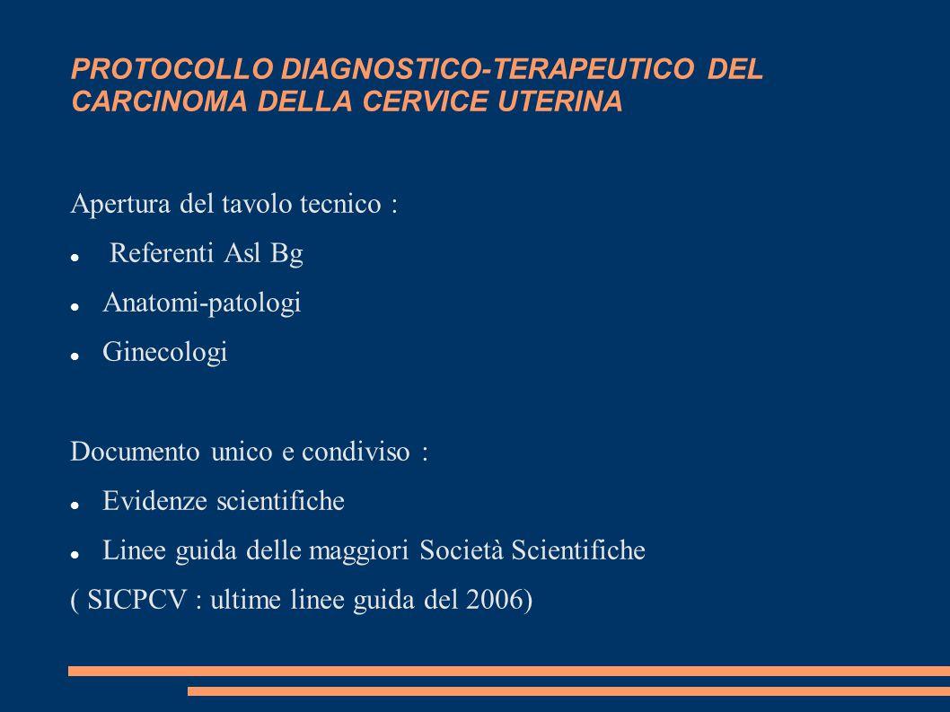 PROTOCOLLO DIAGNOSTICO-TERAPEUTICO DEL CARCINOMA DELLA CERVICE UTERINA