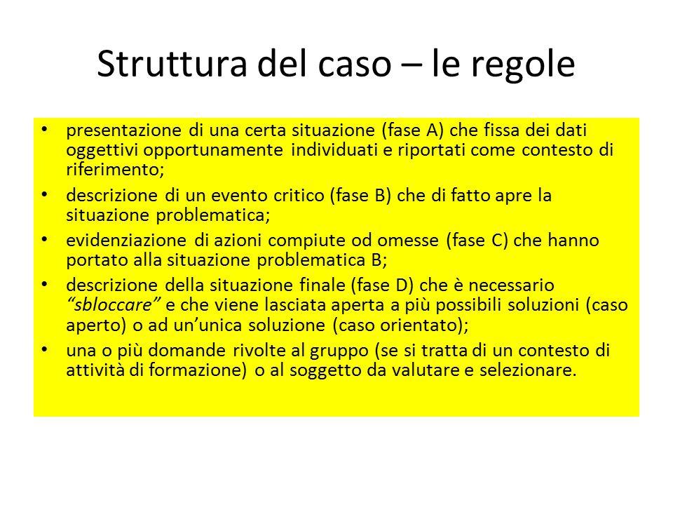 Struttura del caso – le regole