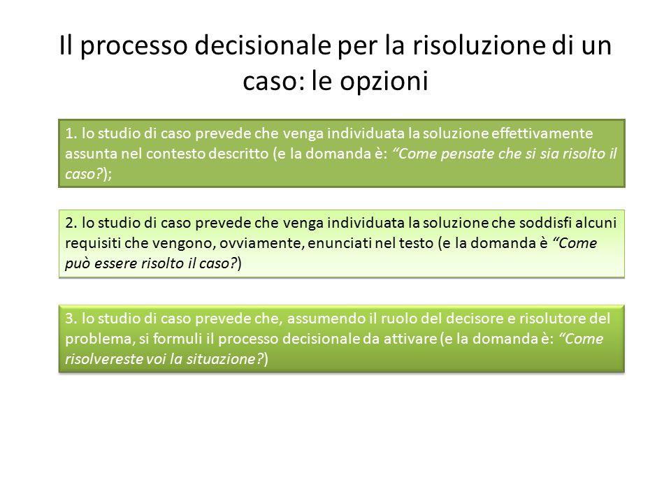 Il processo decisionale per la risoluzione di un caso: le opzioni