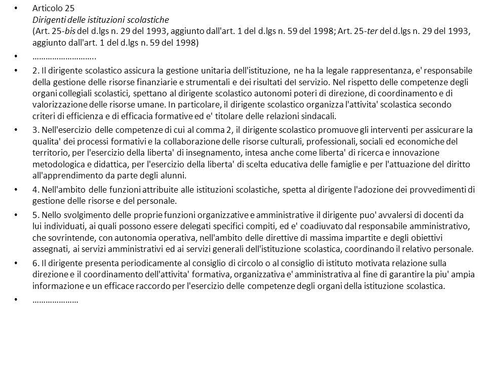 Articolo 25 Dirigenti delle istituzioni scolastiche (Art. 25-bis del d