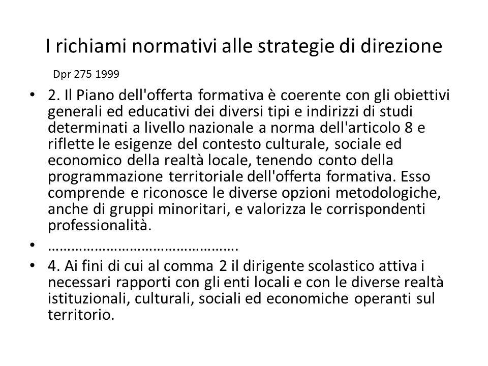 I richiami normativi alle strategie di direzione