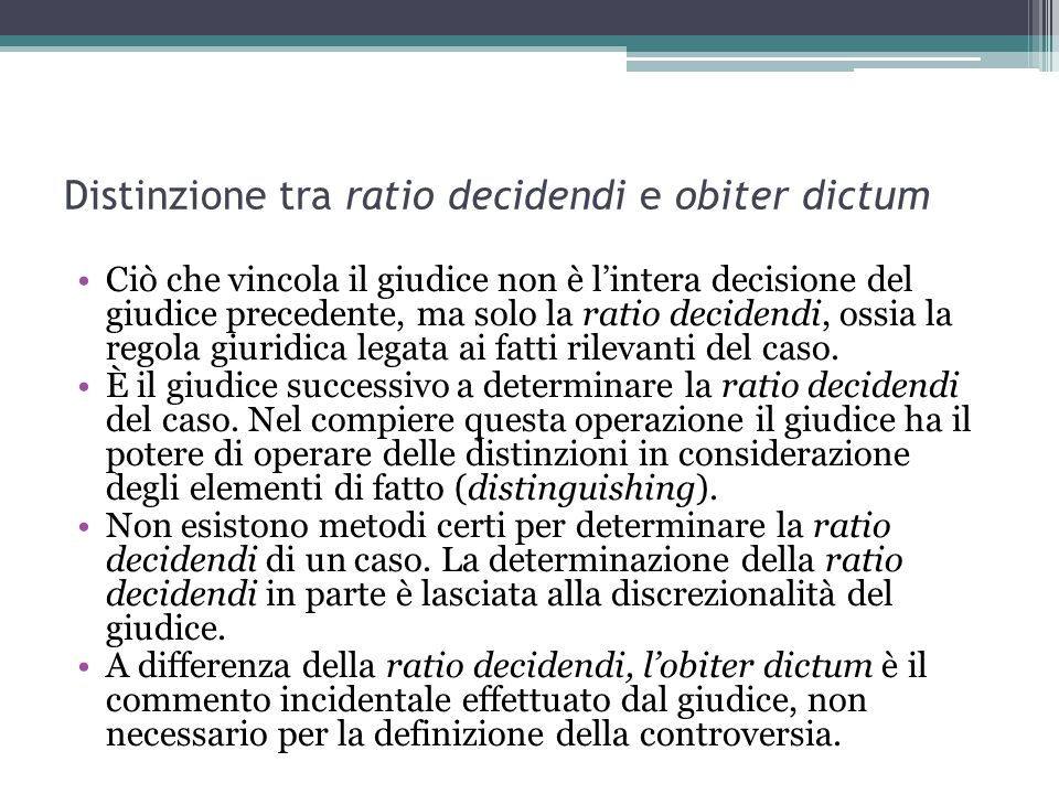 Distinzione tra ratio decidendi e obiter dictum
