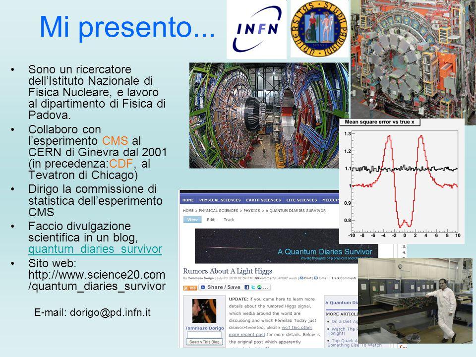 Mi presento... Sono un ricercatore dell'Istituto Nazionale di Fisica Nucleare, e lavoro al dipartimento di Fisica di Padova.