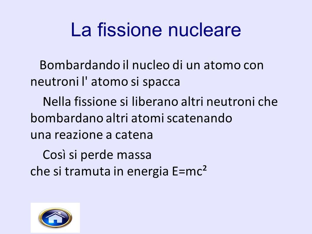 La fissione nucleare Bombardando il nucleo di un atomo con neutroni l atomo si spacca.