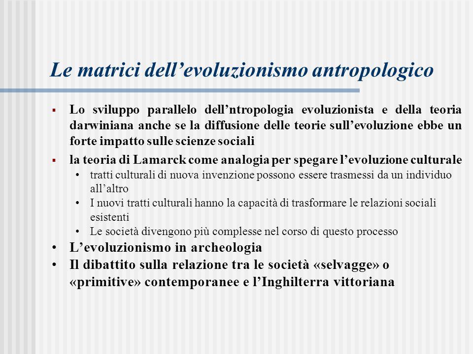 Le matrici dell'evoluzionismo antropologico