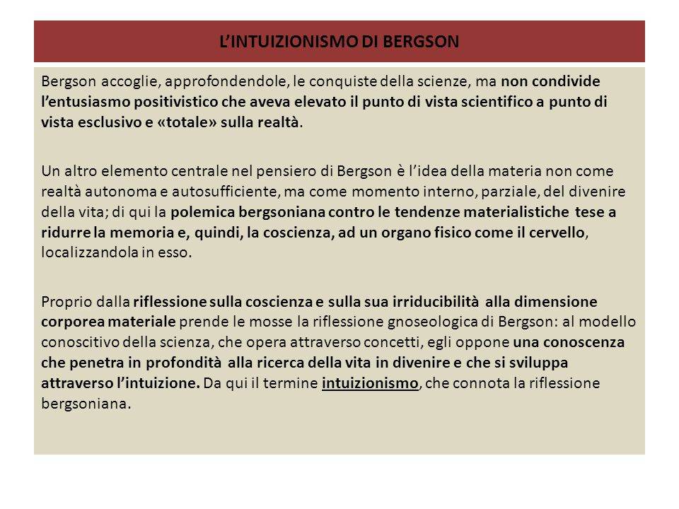 L'INTUIZIONISMO DI BERGSON