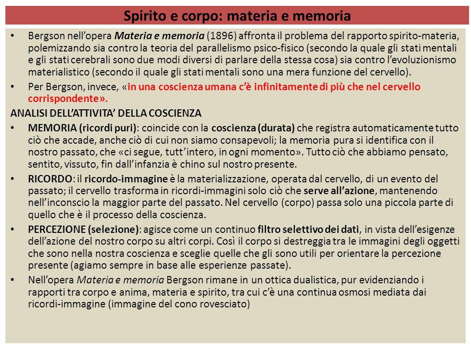 Spirito e corpo: materia e memoria