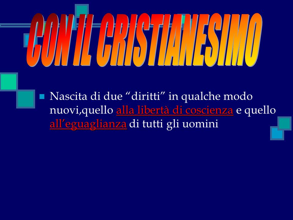 CON IL CRISTIANESIMO Nascita di due diritti in qualche modo nuovi,quello alla libertà di coscienza e quello all'eguaglianza di tutti gli uomini.