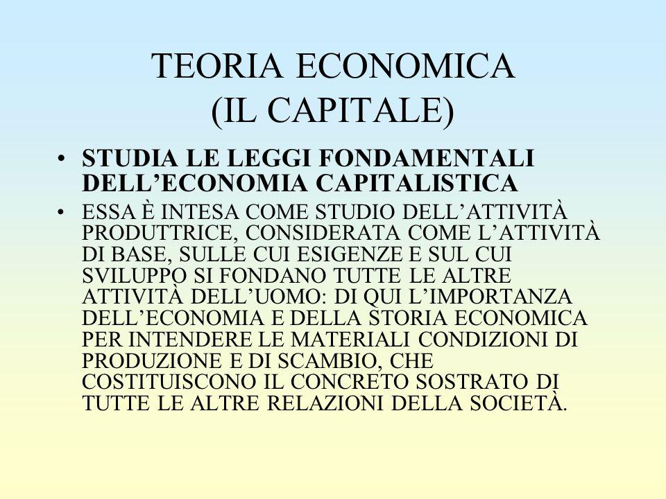 TEORIA ECONOMICA (IL CAPITALE)