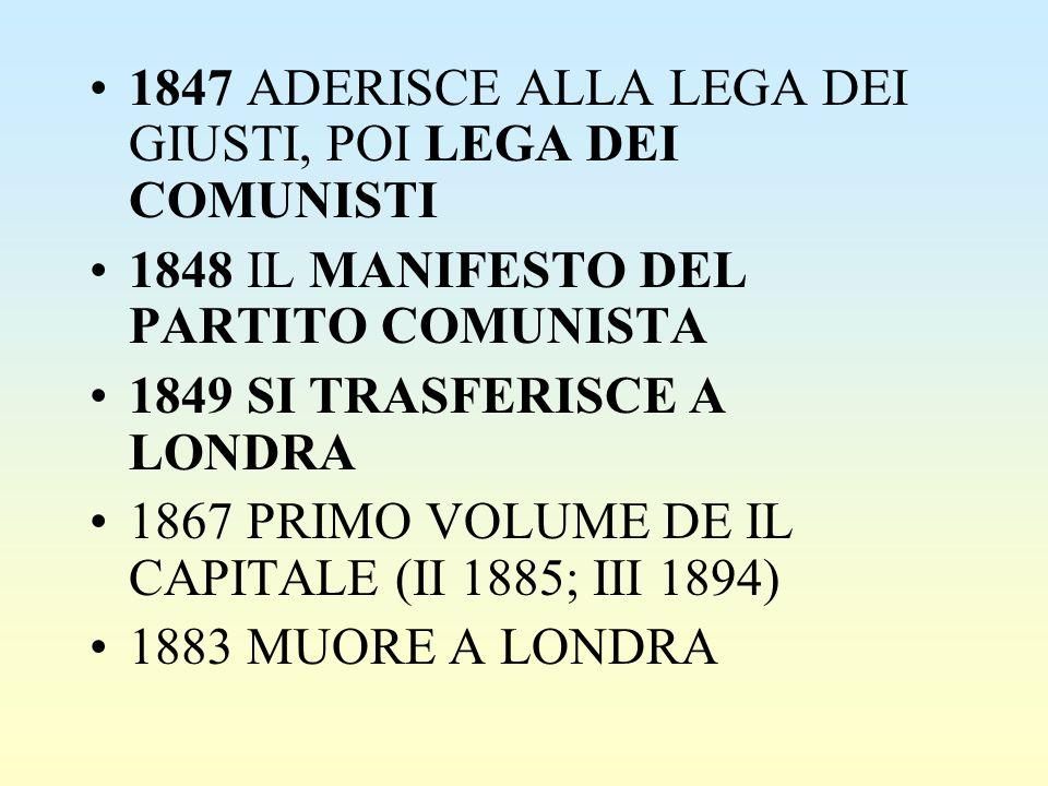 1847 ADERISCE ALLA LEGA DEI GIUSTI, POI LEGA DEI COMUNISTI