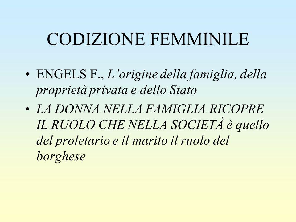 CODIZIONE FEMMINILE ENGELS F., L'origine della famiglia, della proprietà privata e dello Stato.