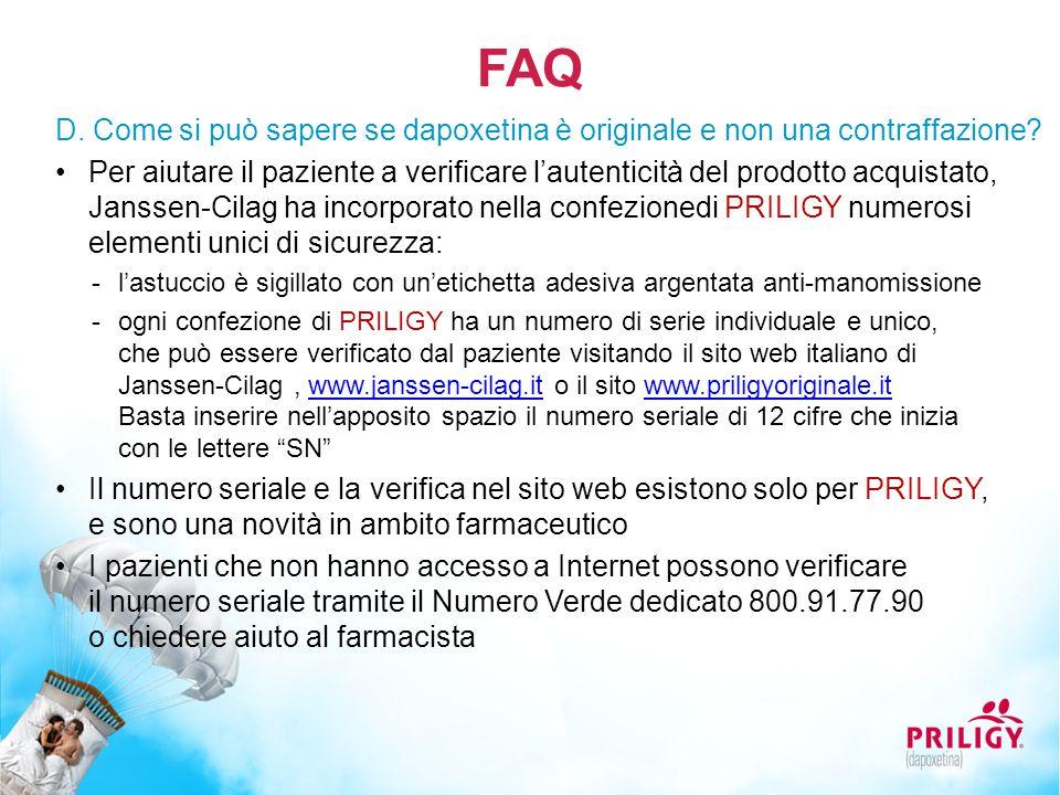 FAQ D. Come si può sapere se dapoxetina è originale e non una contraffazione