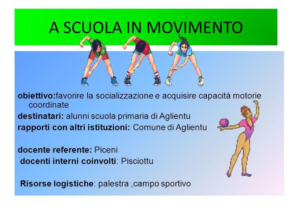 A SCUOLA IN MOVIMENTO obiettivo:favorire la socializzazione e acquisire capacità motorie coordinate.
