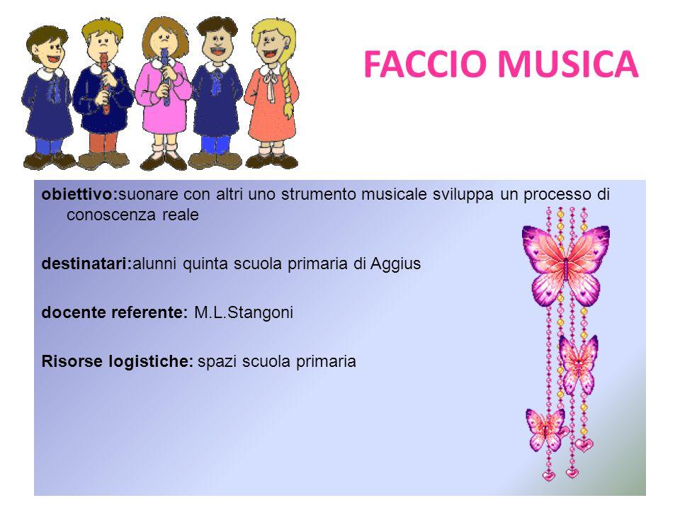 FACCIO MUSICA obiettivo:suonare con altri uno strumento musicale sviluppa un processo di conoscenza reale.