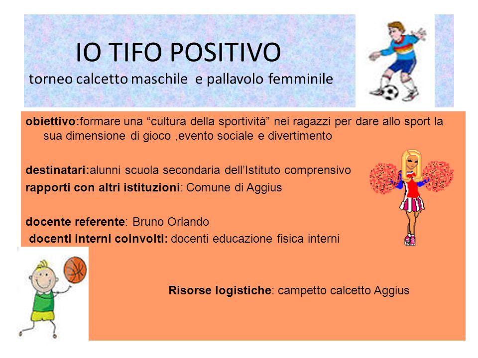 IO TIFO POSITIVO torneo calcetto maschile e pallavolo femminile