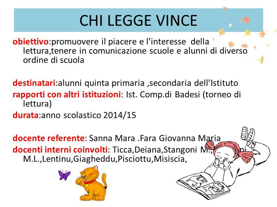 CHI LEGGE VINCE obiettivo:promuovere il piacere e l'interesse della lettura,tenere in comunicazione scuole e alunni di diverso ordine di scuola.