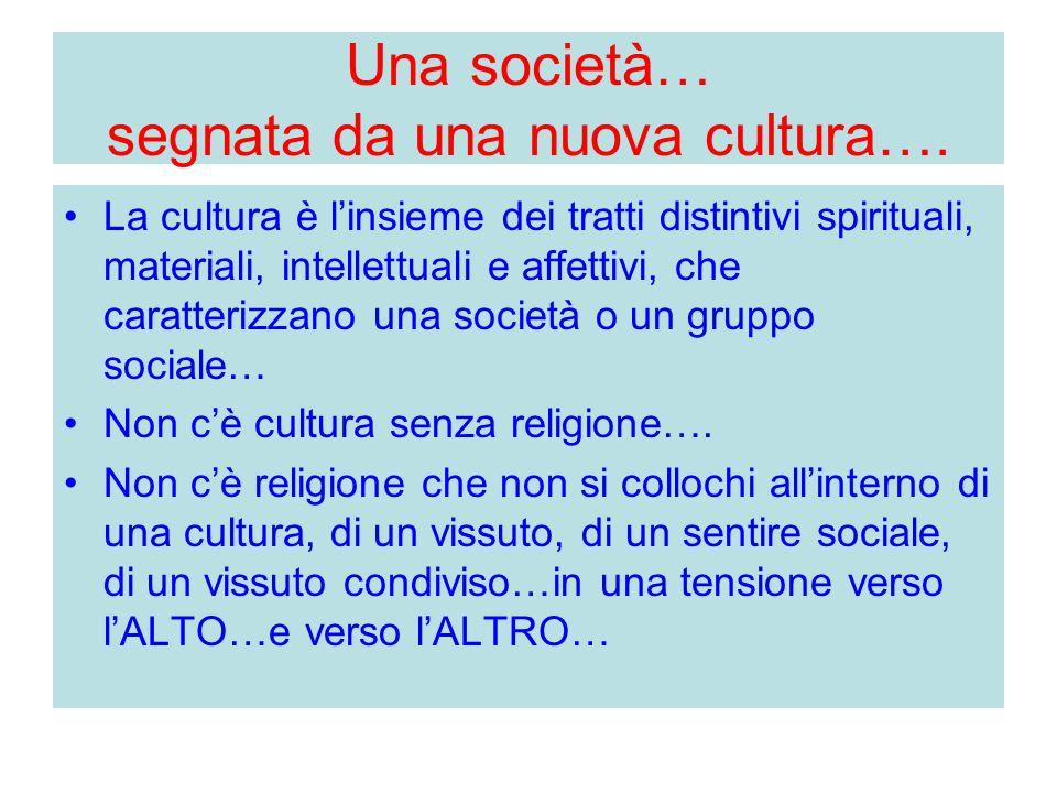 Una società… segnata da una nuova cultura….