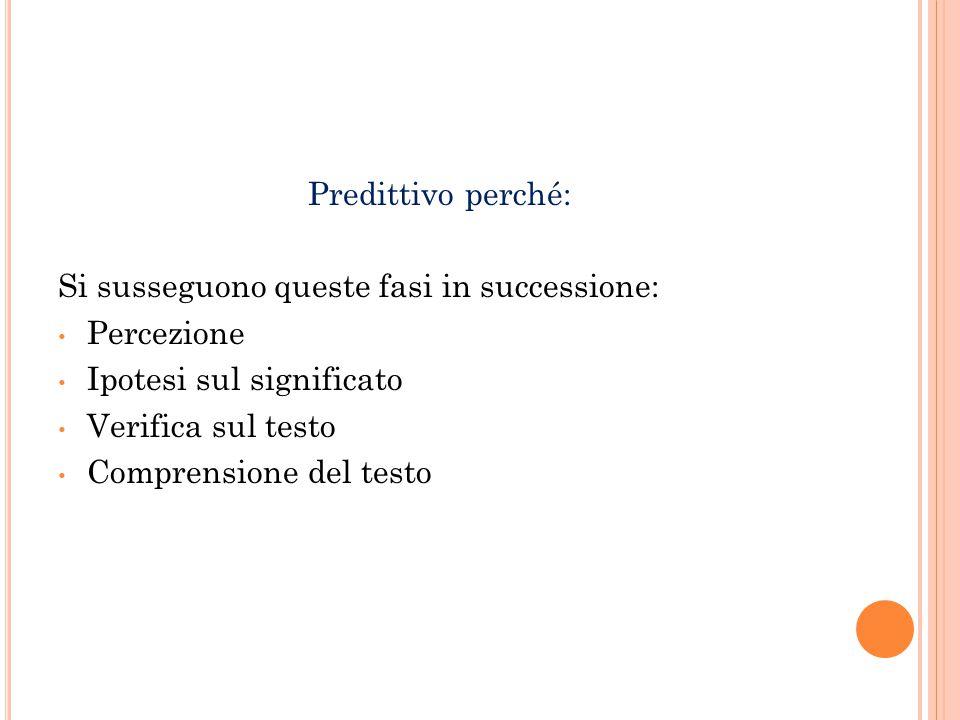 Predittivo perché: Si susseguono queste fasi in successione: Percezione. Ipotesi sul significato.