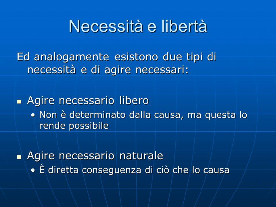 Necessità e libertà Ed analogamente esistono due tipi di necessità e di agire necessari: Agire necessario libero.