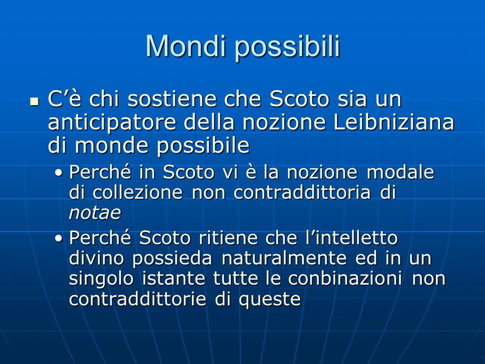 Mondi possibili C'è chi sostiene che Scoto sia un anticipatore della nozione Leibniziana di monde possibile.
