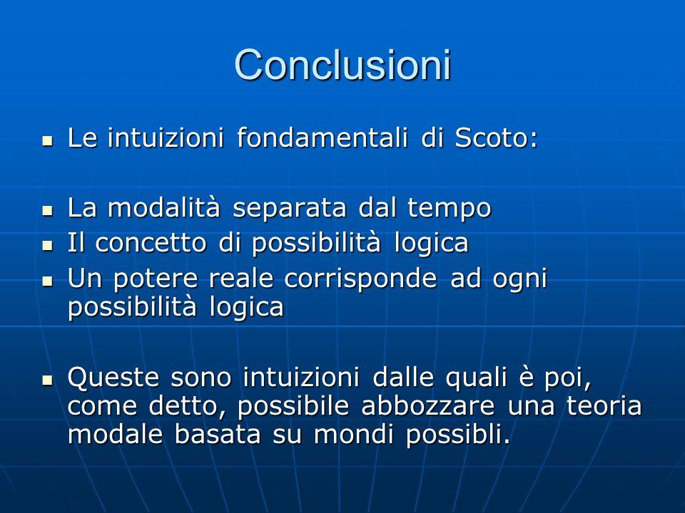 Conclusioni Le intuizioni fondamentali di Scoto: