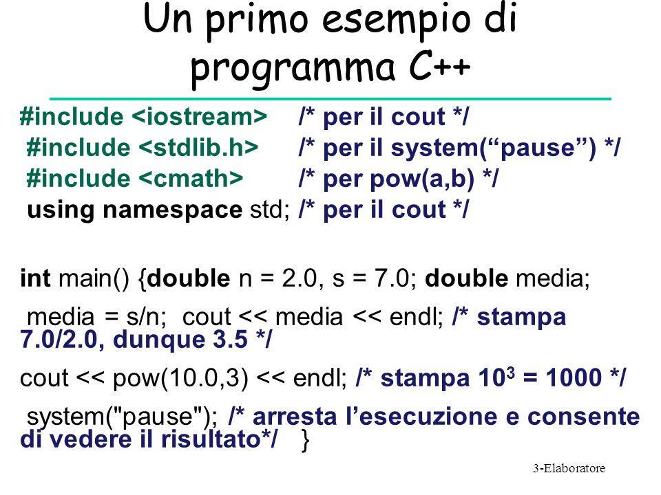 Un primo esempio di programma C++