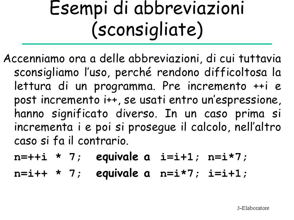Esempi di abbreviazioni (sconsigliate)