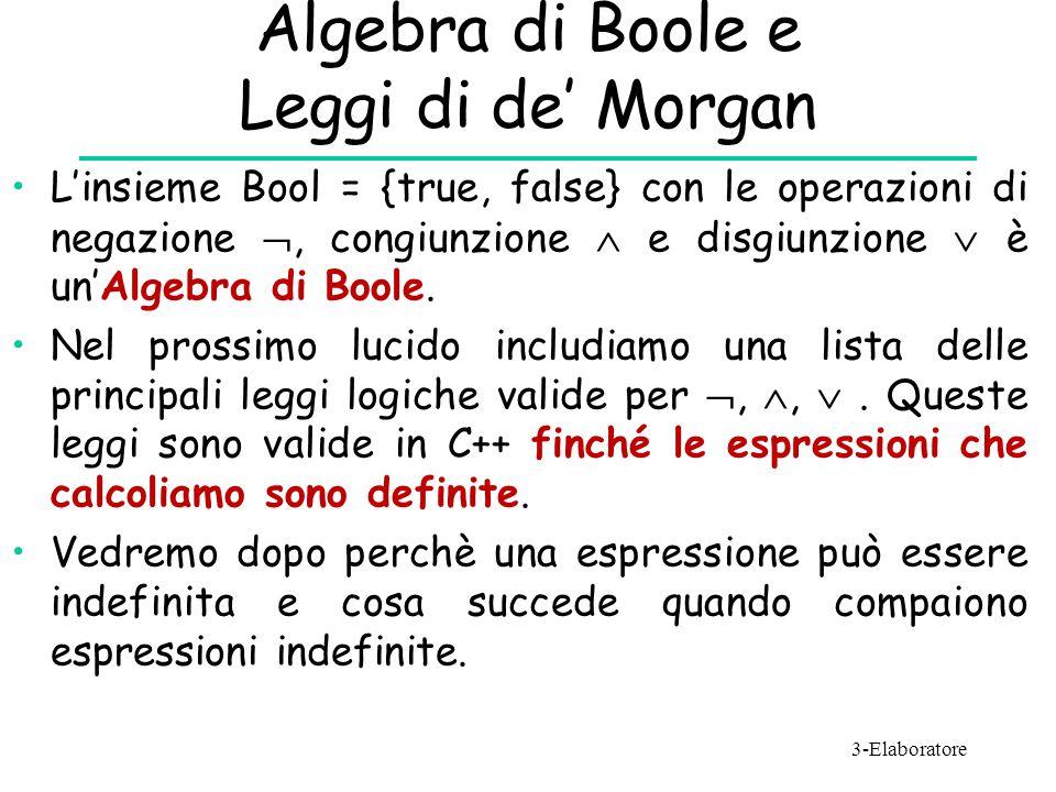 Algebra di Boole e Leggi di de' Morgan