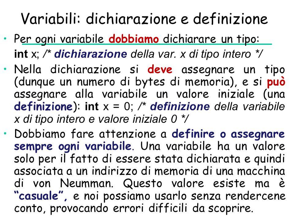 Variabili: dichiarazione e definizione