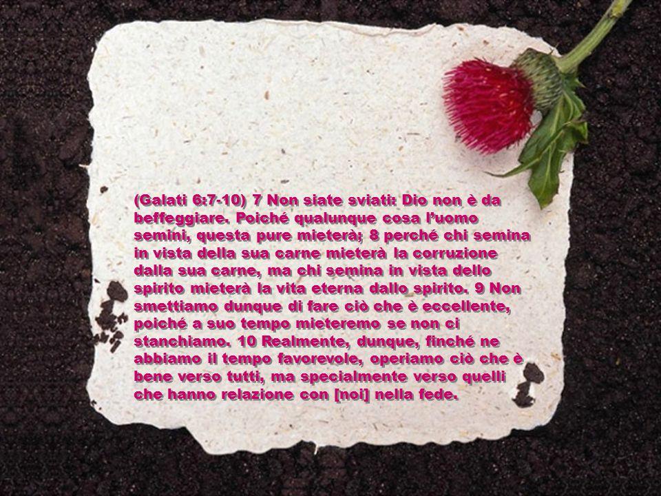 (Galati 6:7-10) 7 Non siate sviati: Dio non è da beffeggiare