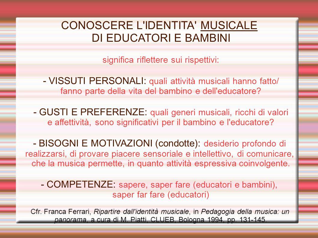 CONOSCERE L IDENTITA MUSICALE DI EDUCATORI E BAMBINI