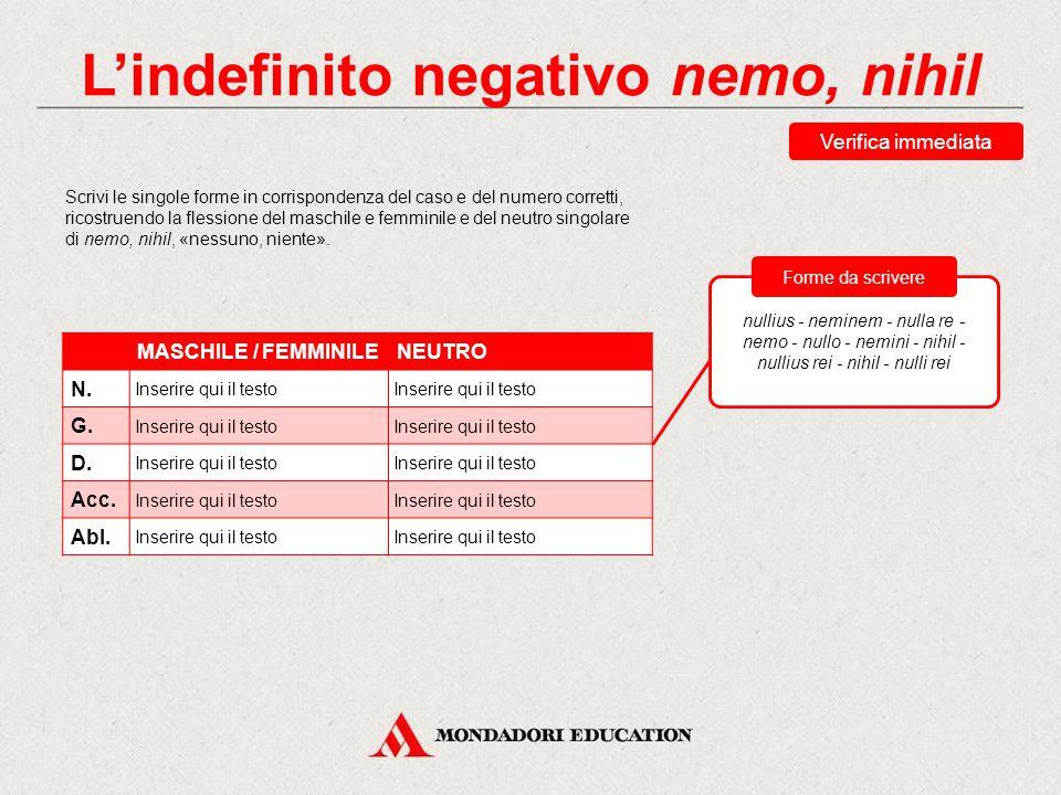 L'indefinito negativo nemo, nihil