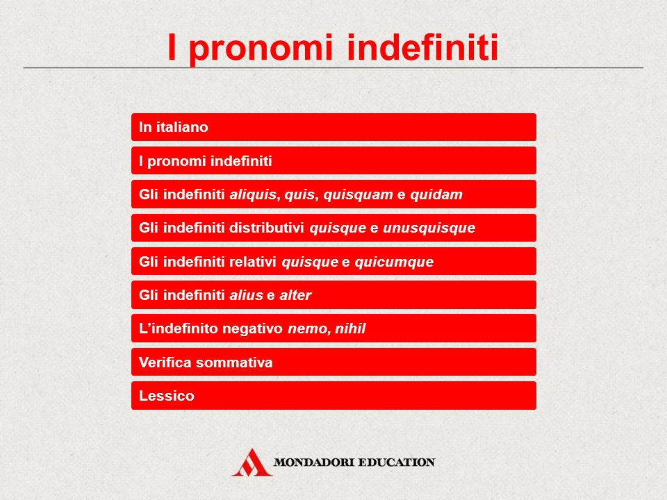I pronomi indefiniti In italiano I pronomi indefiniti