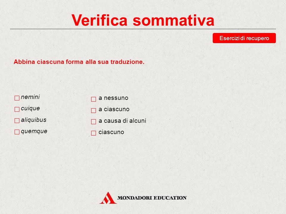 Verifica sommativa Abbina ciascuna forma alla sua traduzione. nemini