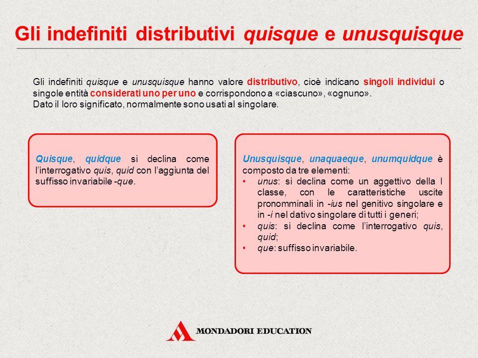 Gli indefiniti distributivi quisque e unusquisque
