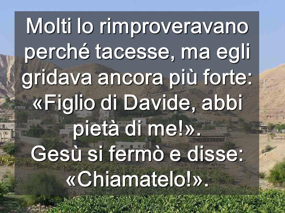Molti lo rimproveravano perché tacesse, ma egli gridava ancora più forte: «Figlio di Davide, abbi pietà di me!».