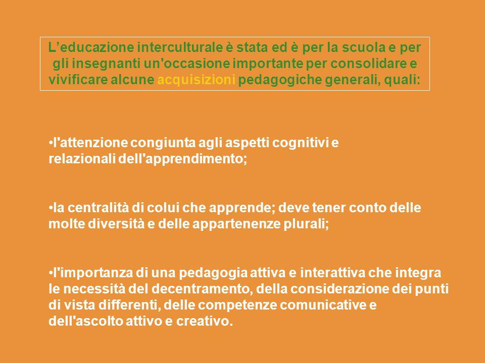 L'educazione interculturale è stata ed è per la scuola e per gli insegnanti un occasione importante per consolidare e vivificare alcune acquisizioni pedagogiche generali, quali: