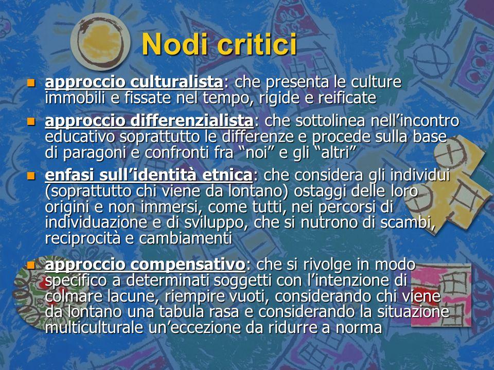 Nodi critici approccio culturalista: che presenta le culture immobili e fissate nel tempo, rigide e reificate.
