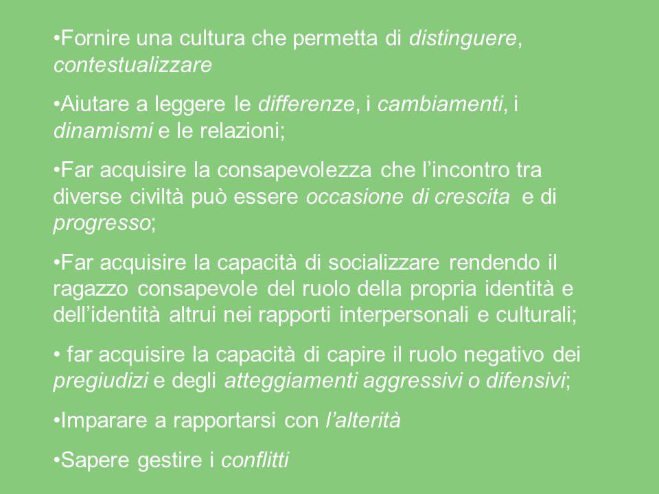 Fornire una cultura che permetta di distinguere, contestualizzare