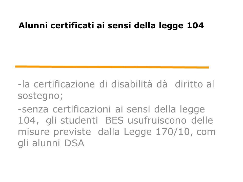 Alunni certificati ai sensi della legge 104