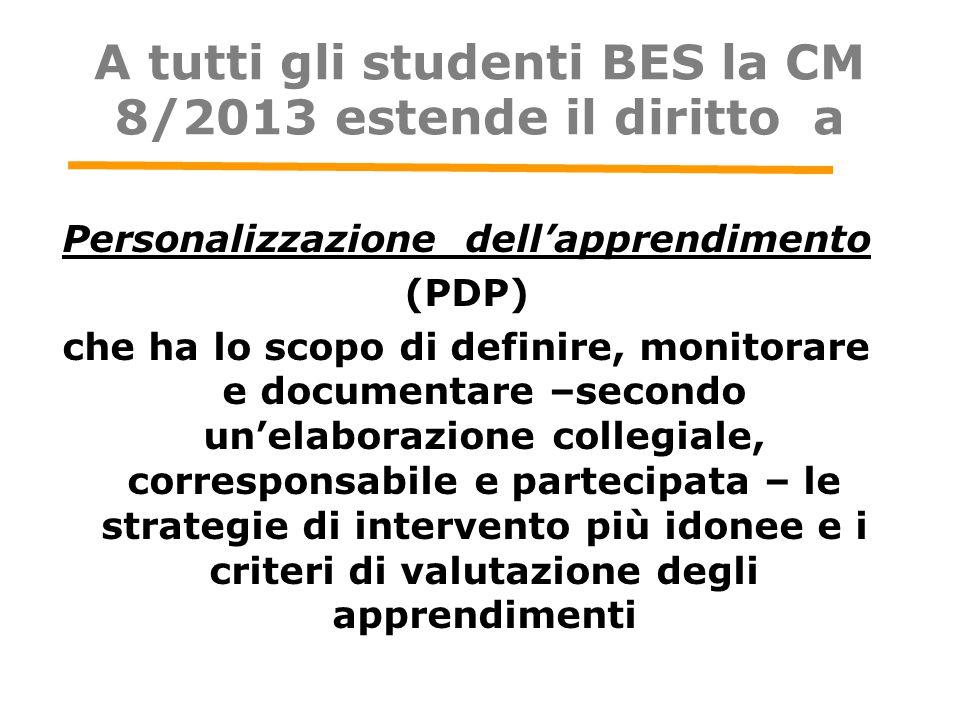 A tutti gli studenti BES la CM 8/2013 estende il diritto a