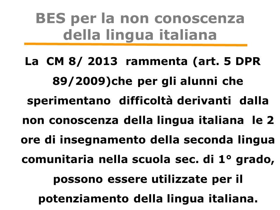 BES per la non conoscenza della lingua italiana