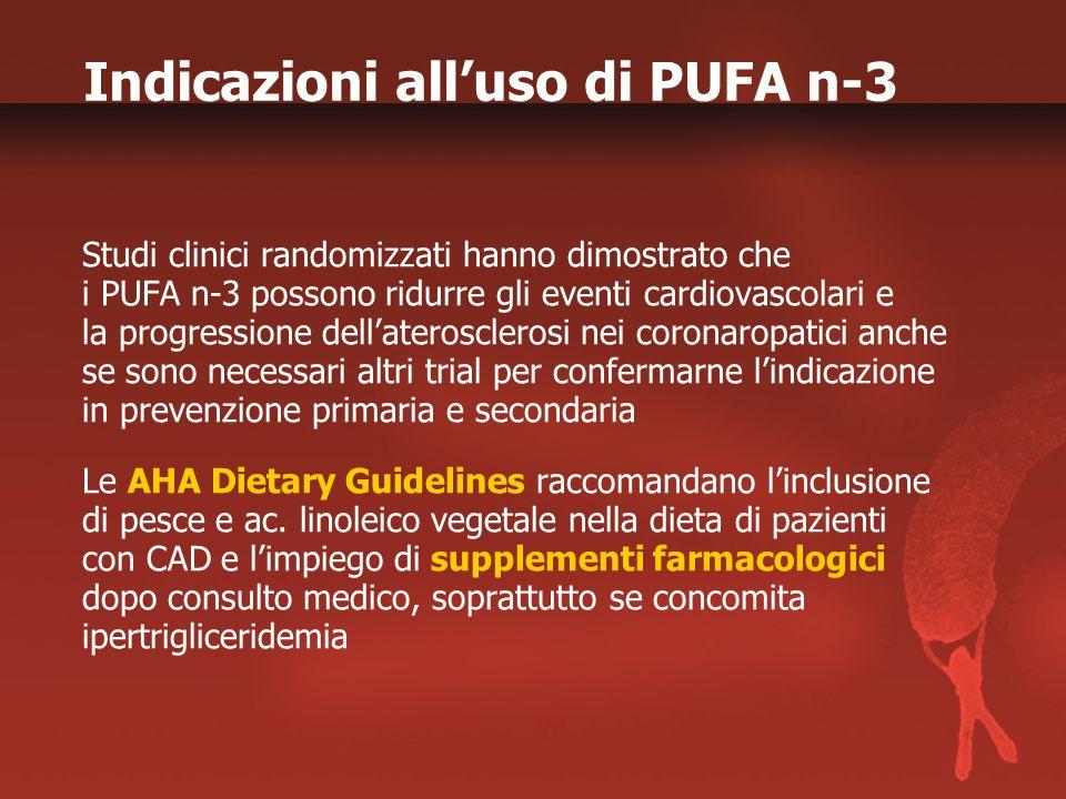 Indicazioni all'uso di PUFA n-3