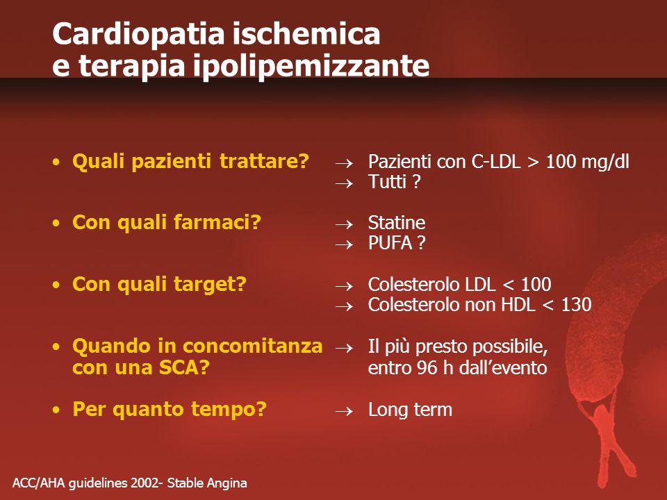 Cardiopatia ischemica e terapia ipolipemizzante